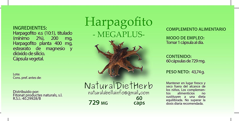 NaturalDietHerb- Harpagofito Garra Diablo 729mg 60 caps / Dolor articulaciones / Formato práctico/ Una al día / Para dos meses: Amazon.es: Salud y cuidado ...