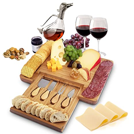 Christmas Cheese Board.Home Euphoria Natural Bamboo Cheese Board And Cutlery Set With Slide Out Drawer Serving Tray For Wine Crackers Charcuterie Perfect For Christmas