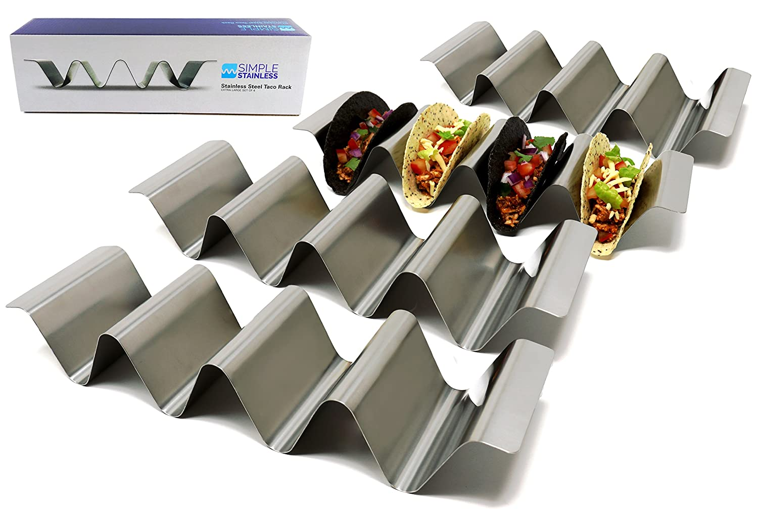 Premium Taco Holder Stands - Set of 4 - Crafted from Food Grade Stainless Steel - Each Rack Holds 4 Tacos/Tortillas - with Handles and Round Groove Design - For Restaurant/Home - By SimpleStainless SS4XL
