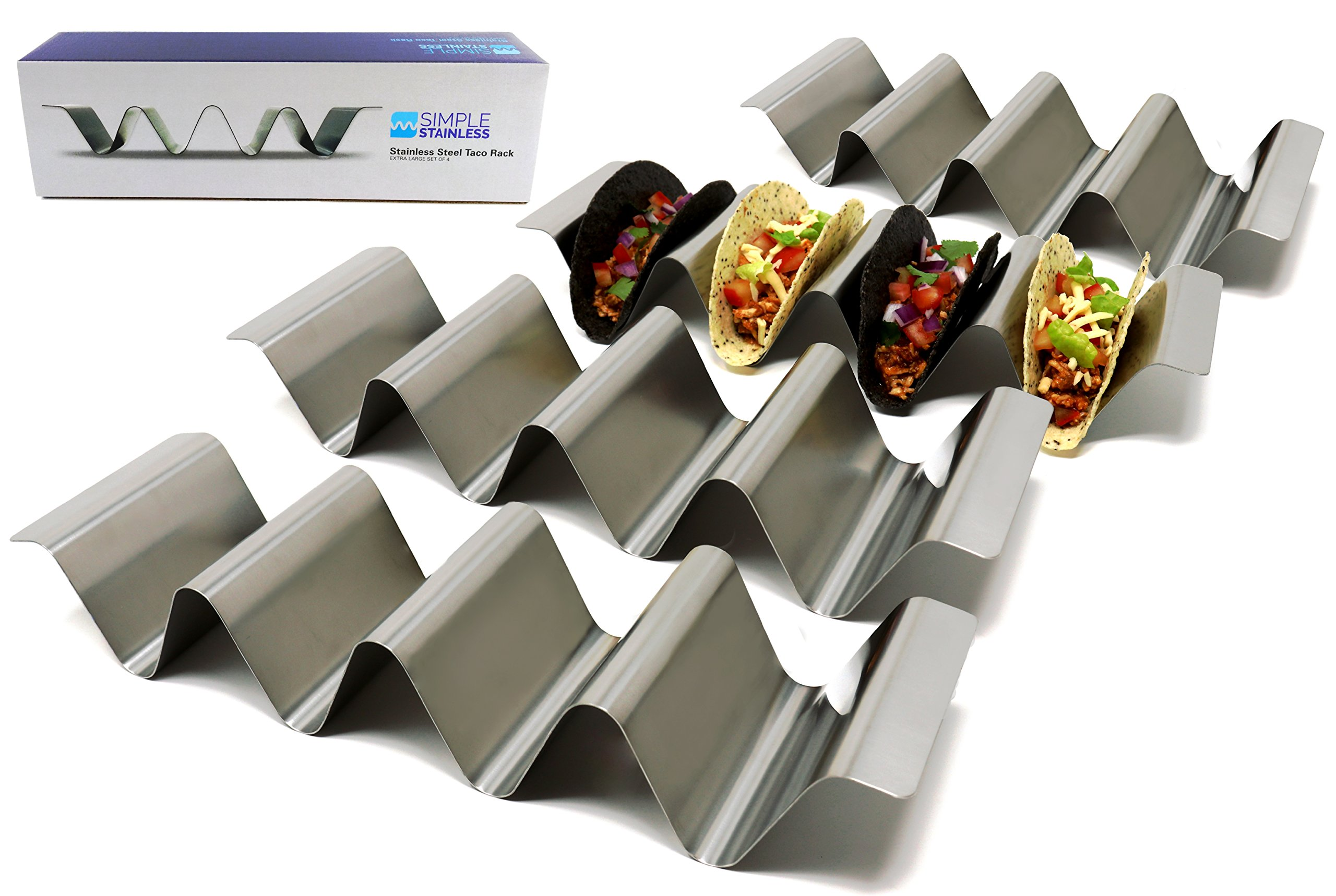 Premium Taco Holder Stands - Set of 4 - Crafted from Food Grade Stainless Steel - Each Rack Holds 4 Tacos/Tortillas - with Handles and Round Groove Design - For Restaurant/Home - By SimpleStainless by SimpleStainless