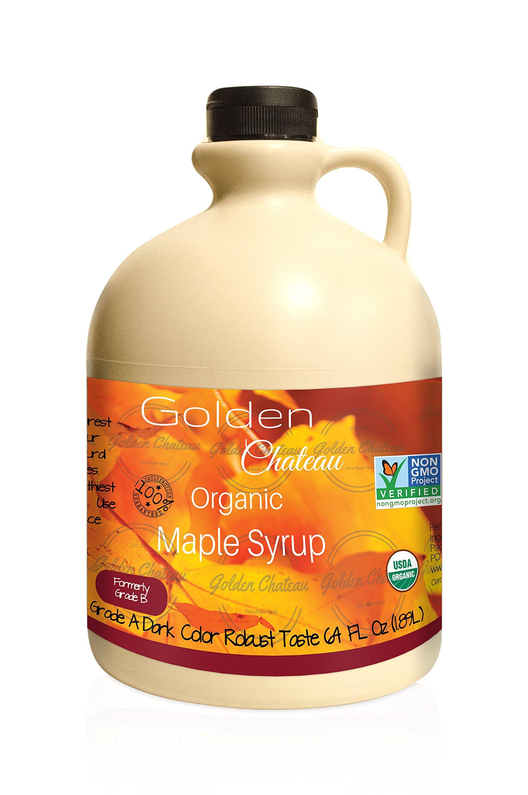 Golden Chateau Organic Maple Syrup Grade A Dark Color Robust Taste/formerly Grade B, 64 oz
