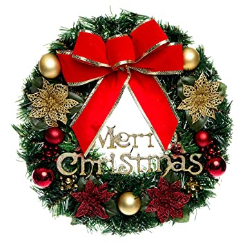 Christmas Wreath with Ribbon and Bells, Indoor Outdoor Christmas Wreaths  Garland Ornaments Christmas Decorations (