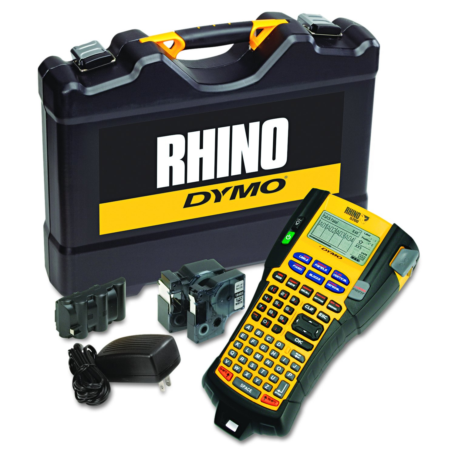 "DYMO Rhino 5200 Industrial Label Maker Cary Case Kit with 2 Rolls of Vinyl Labels, 3/4"" & 3/8"", Black on White (1756589)"