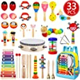 Toddler Musical Instruments, 33 PCS 19 Types Wooden Percussion Instruments Toys for Baby Kids Preschool Education, Early Learning Musical Xylophone Tambourine Drums Toy for Boys and Girls with Storage Backpack By Mibote