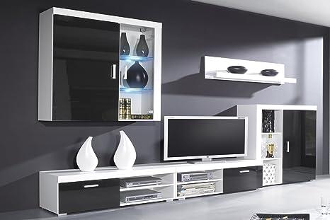 SelectionHome - Mueble Comedor, Salon Moderno con Leds, Acabado en Negro Brillo Lacado y Blanco Mate, Medidas: 290x200x45 cm de Fondo