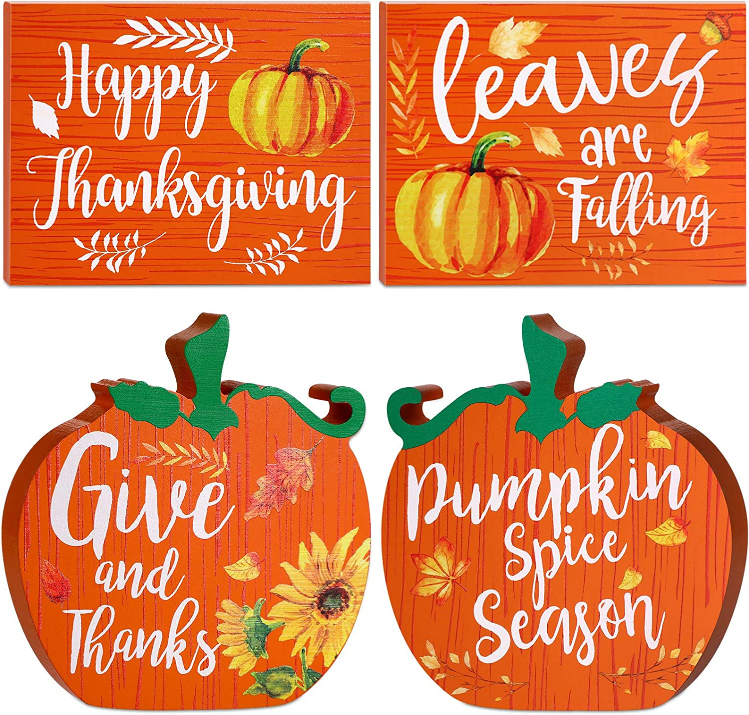 Blulu Thanksgiving Table Decorations Pumpkin Spice Table Centerpieces Tiered Tray Decorations, Double Print Fall Decor Autumn Signs Mini Kitchen Wood Ornaments Tabletop Standups, 2 Pieces