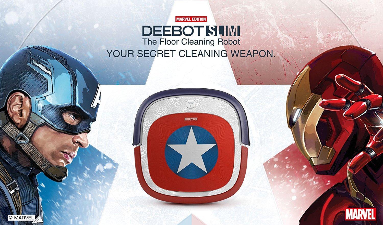 ECOVACS ROBOTICS DEEBOT SLIM - MARVEL edition, Captain America - Robot aspirador ultrafino con aspiración directa DA610 [Clase de eficiencia energética A++] ...
