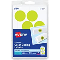 Avery Etiquetas autoadhesivas extraíbles, 1.25 pulgadas de diámetro, amarillo neón, 400 por paquete (5499)