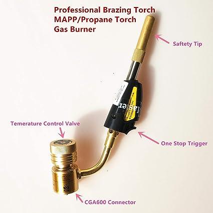 Antorcha de soldadura profesional del gas de Mapp, arma de soldadura fuerte del remolino para la conexión de la joyería ...