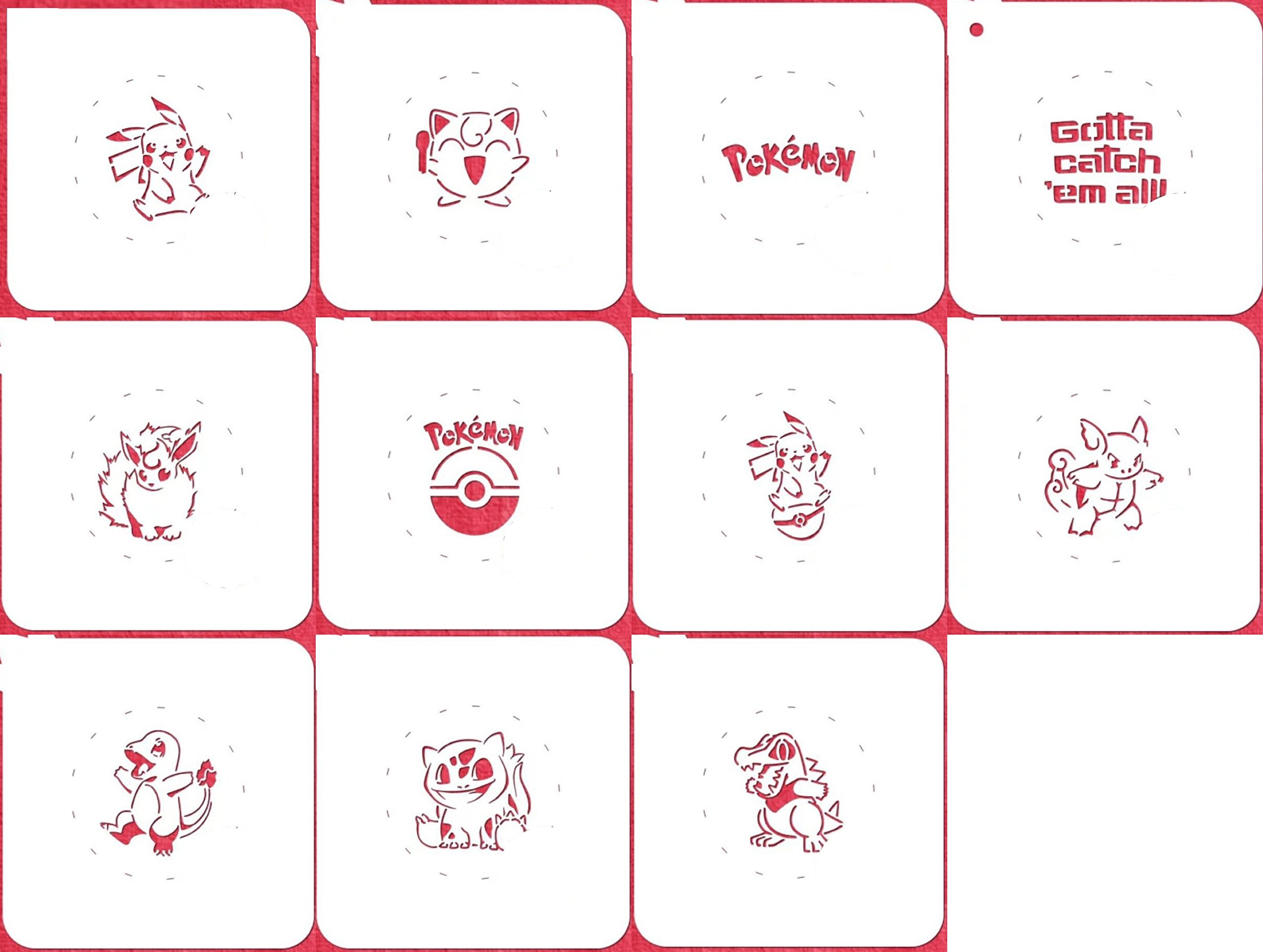 Pokemon Cookie Stencil - American Confections - Pichachu, Charmander - Set of 11