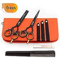 Coiffure Ciseaux de coiffure Barber Salon de coupe de cheveu Noir Vis éclaircie (6 pouces)