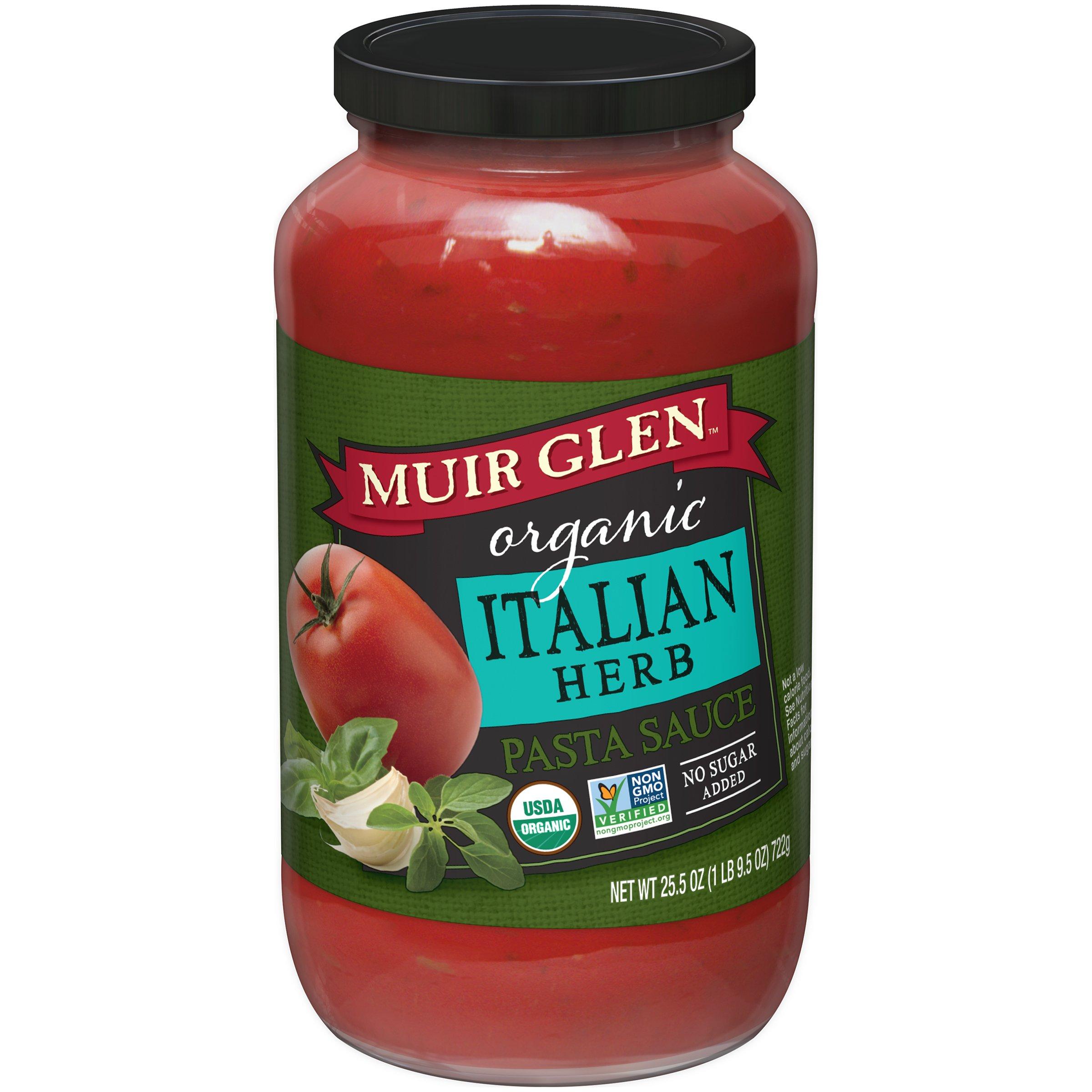 Muir Glen Organic Pasta Sauce, Italian Herb, No Sugar Added, 25.5 Ounce Glass Jar (Pack of 12)