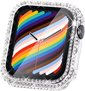 Surace Compatible with Apple Watch Case 38mm with Screen Protector for Apple Watch Series 6/5/4/3/2/1, Bling Case 300 Crystal Diamond Tempered Glass Protective Cover for 38mm 40mm 42mm 44mm, Clear