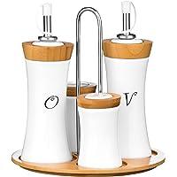 Premier Housewares 1103947 Set di Condimenti, 4 Pezzi, Olio/Aceto/Sale/Pepe, in Bambù/Ceramica