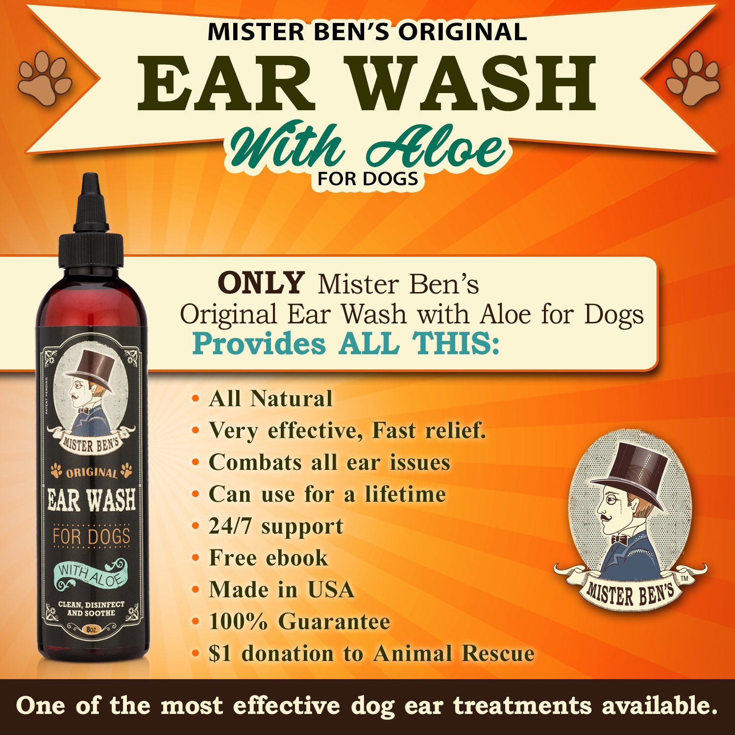 Mister Ben's MOST EFFECTIVE DOG EAR WASH Voted the Best Dog Ear Cleaner - Provides FAST RELIEF from Dog Ear Infections, Irritations, Itching, Odors, Bacteria, Mites, Fungus & Yeast by Mister Ben's (Image #1)