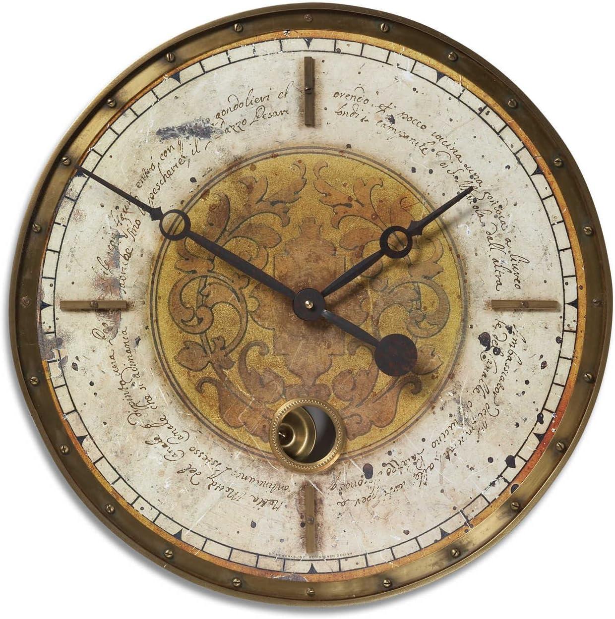 Uttermost 06006 Leonardo Script Wall Clock – 18 Cream
