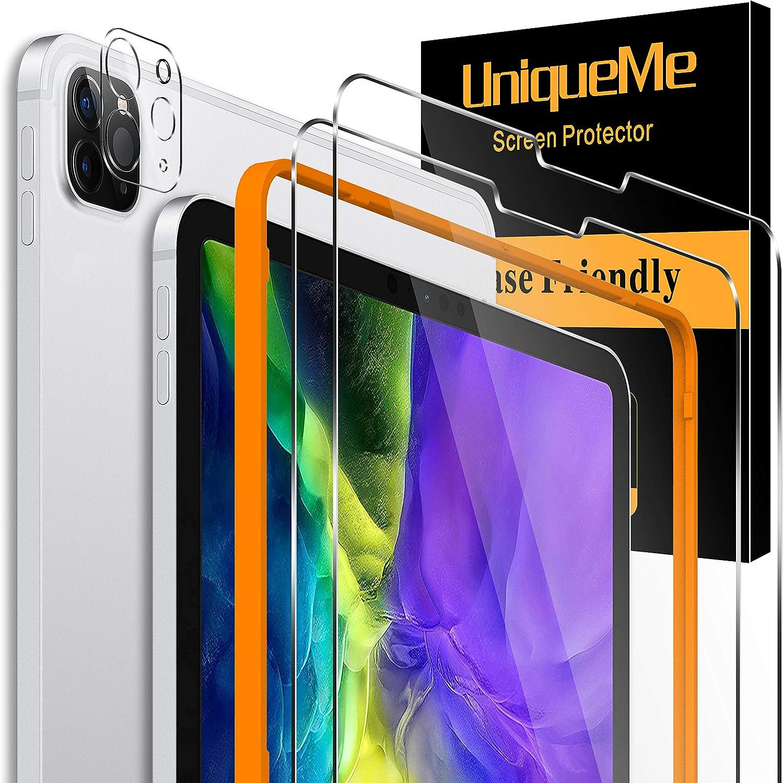 """UniqueMe [2 Pack] Protector de Pantalla para iPad Pro 2020 11"""" y [1 Pack] Protector de Lente de cámara para iPad Pro 2020 11"""" cámara, [Cobertura máxima][Sin Burbujas] HD Cristal Vidrio Templado"""