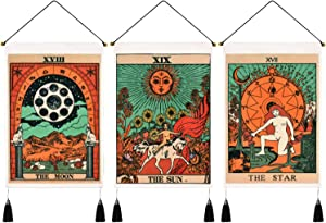 Pack of 3 Tarot Tapestry The Sun The Moon The Star Tarot Cards Tapestries Medieval Europe Tapestry Mysterious Tapestry Wall Hanging for Room (13.8 x 19.7 inches)
