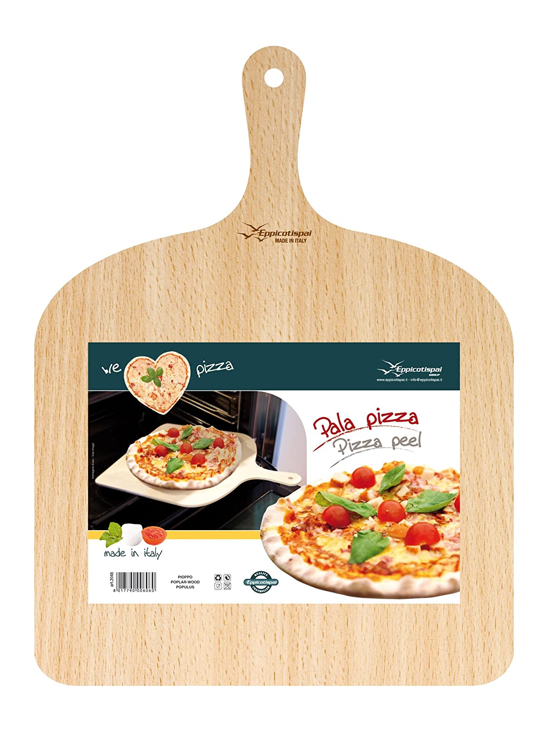 PALA PIZZA IN LEGNO DI BETULLA - Natural Beechwood Pizza Paddle/Peel We Love Pasta 2048