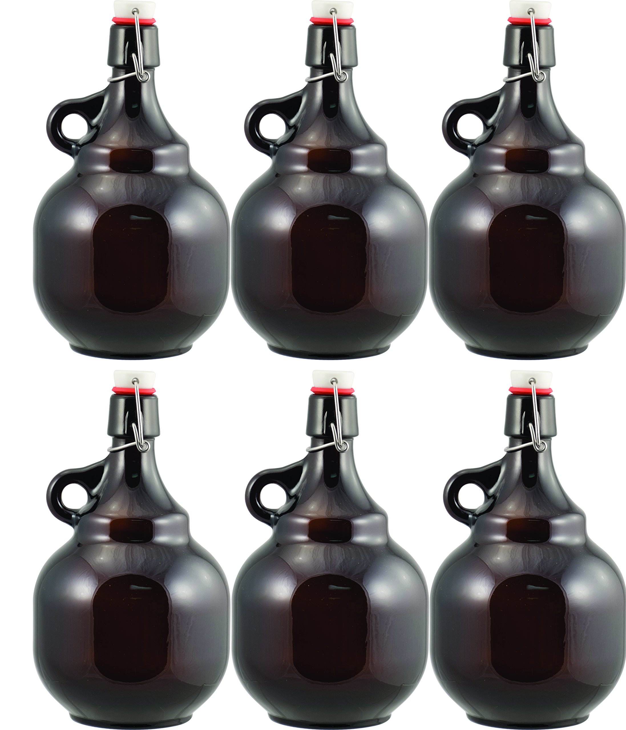 Beer - 2L Amber Flip Top Palla Growler (Pack of 6) by Homebrewers Outpost (Image #1)