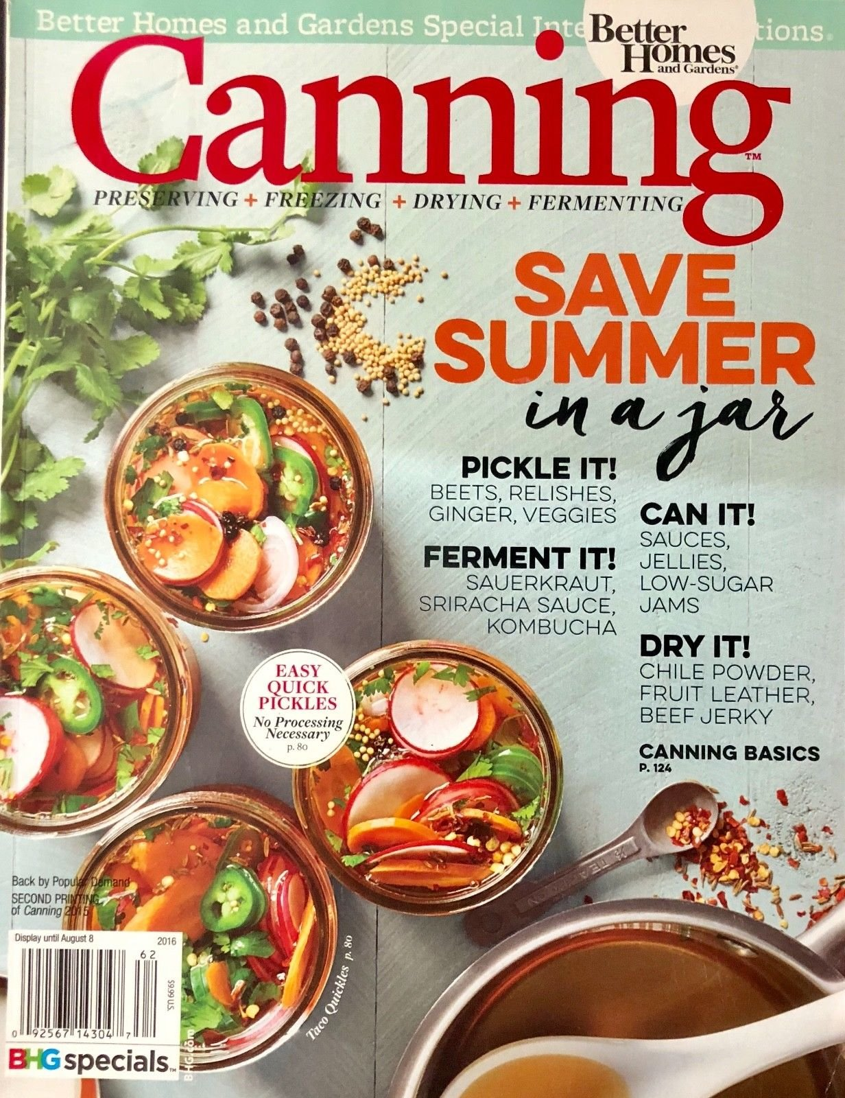 BETTER HOMES & GARDEN SPECIAL INTEREST, CANNING 2016 ISSUE