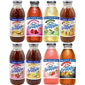 Diet Snapple Raspberry, Cranberry Raspberry, Lemon, Noni Berry, Half n' Half, Peach, Trop-A-Rock, Green Tea, All Natural - Variety Pack, 16 Fl Oz (Pack of 8, Total of 128 Fl Oz)
