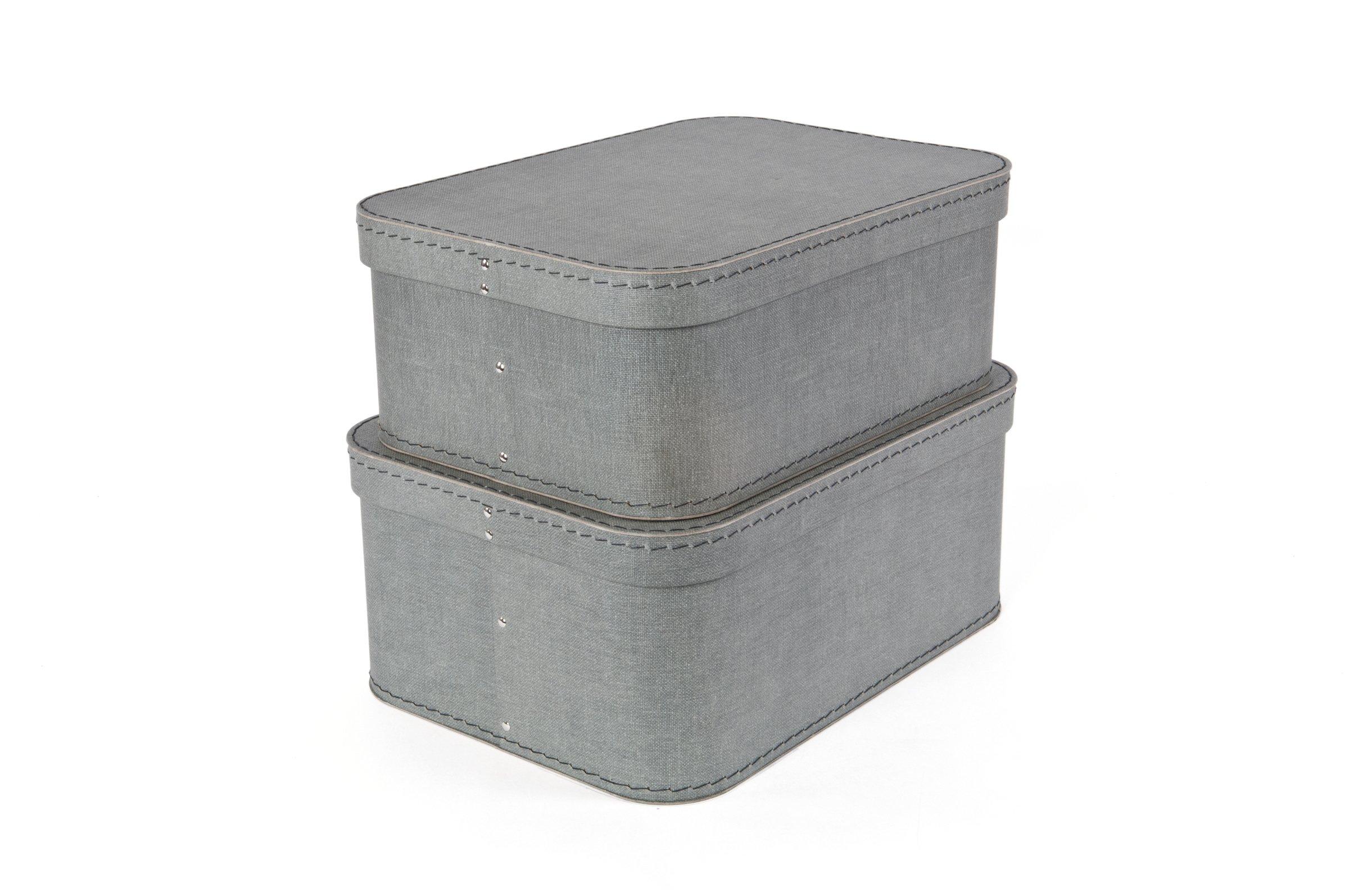 Bigso Love Canvas Paper Laminate Storage Boxes, Grey, Set of 2