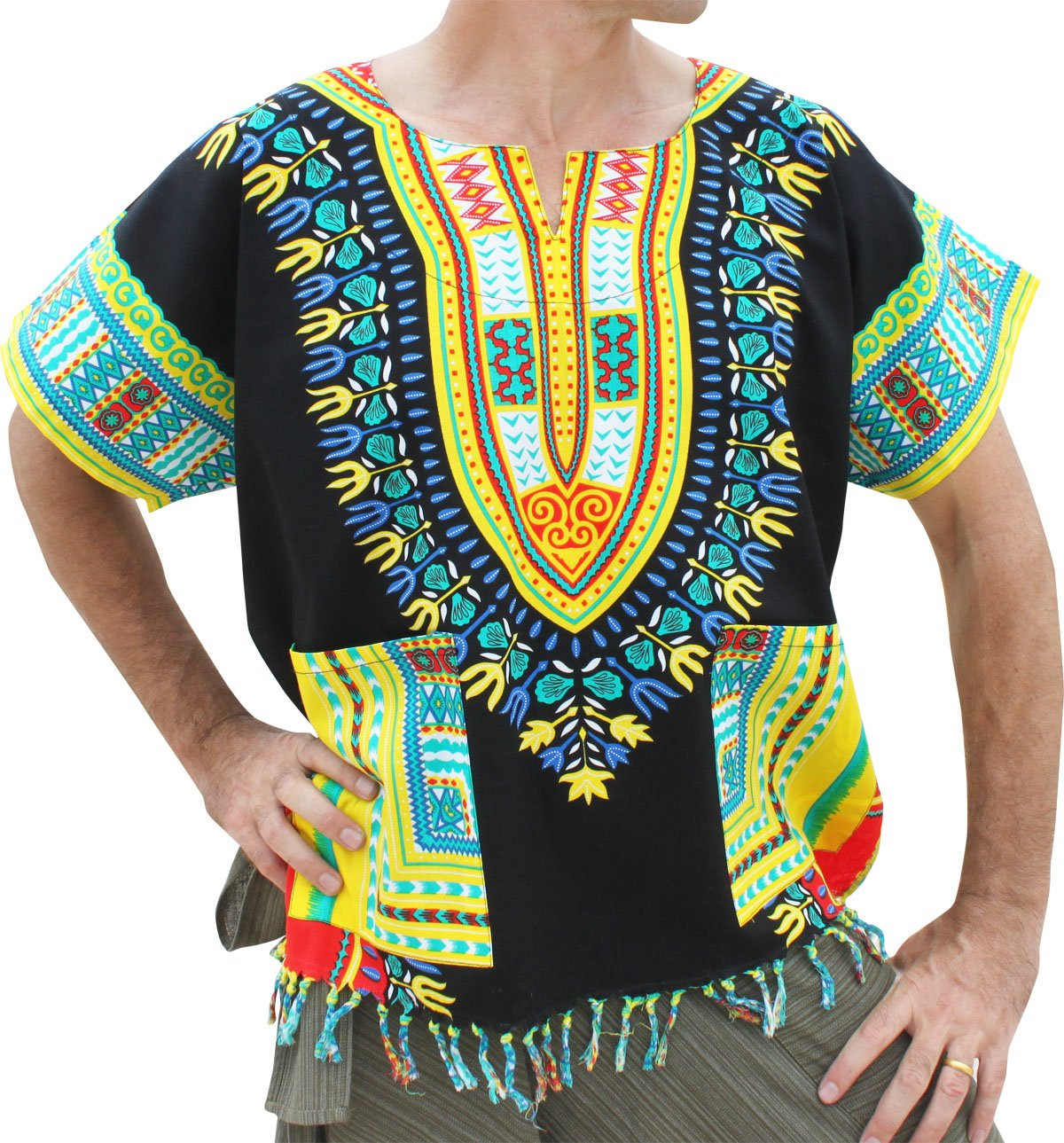 RaanPahMuang Bold Cotton Dashiki Unisex African Shirt with Tassels and Pockets variant44710AMZ