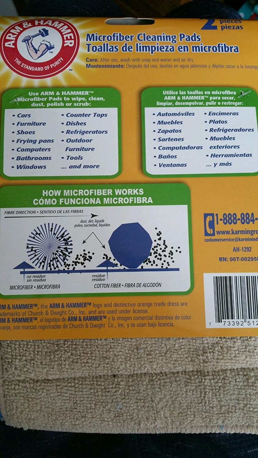 Amazon.com: Arm & Hammer Microfiber Cleaning Pads 2-Pads in a Pack: Health & Personal Care