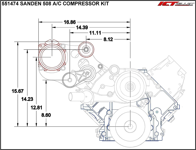 ls1 gto belt diagram amazon com ict billet ls1 camaro gto sanden 508 a c air  ict billet ls1 camaro gto sanden 508