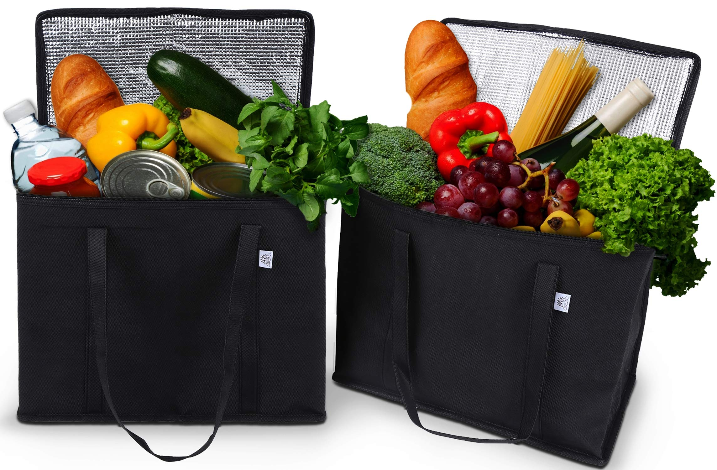 2 Pack Reusable Grocery Tote Bag by Ks Country - Collapsible and Stands Upright with Durable Zippers and Large Reinforced Handles for Extra Strength - Sturdy and Insulated to Keep Foods Cold or Hot by Ks Country (Image #1)