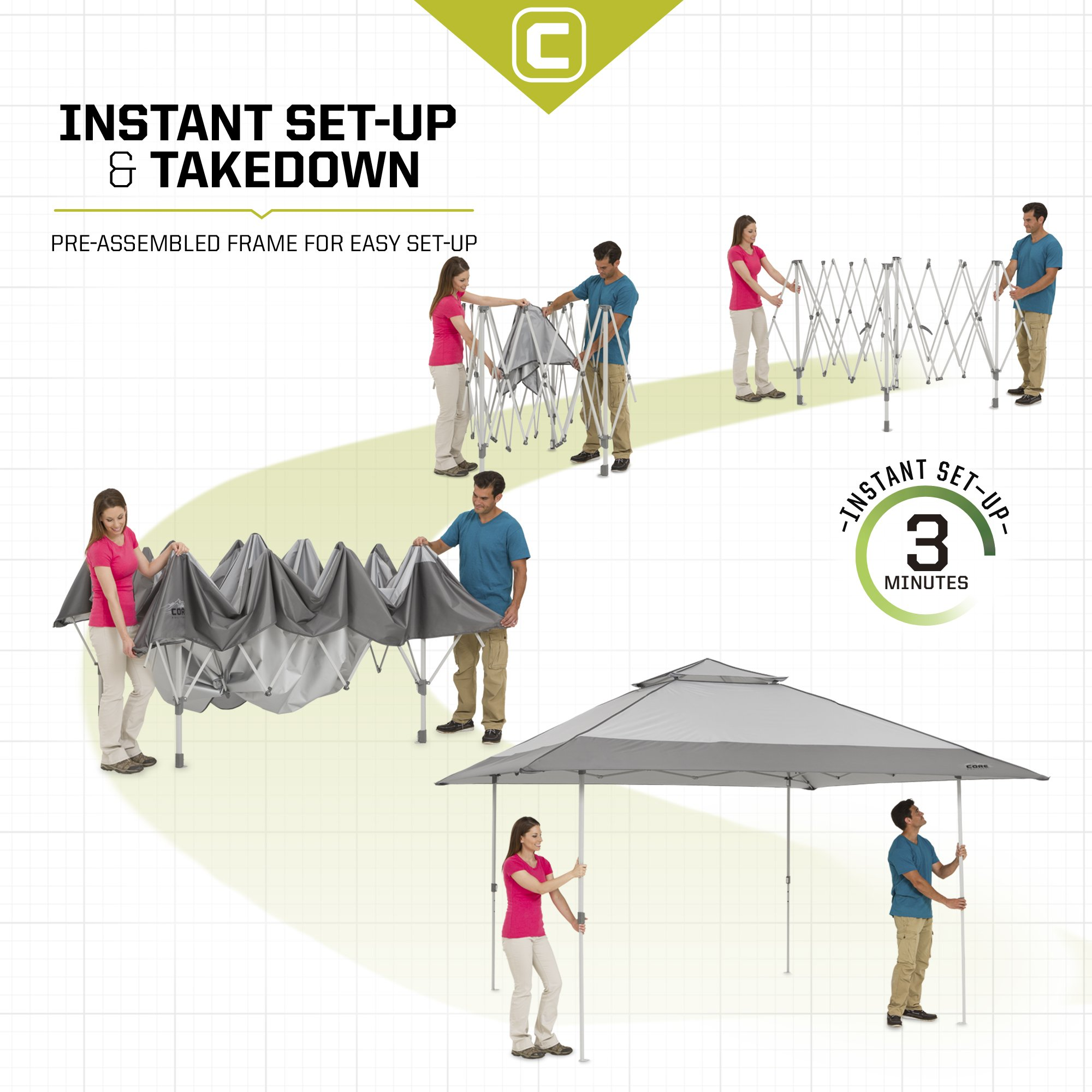 CORE 13' x 13' Instant Shelter Pop Up Canopy Gazebo Tent for Shade in Backyard, Party, Event with Wheeled Carry Bag, Gray by CORE (Image #4)