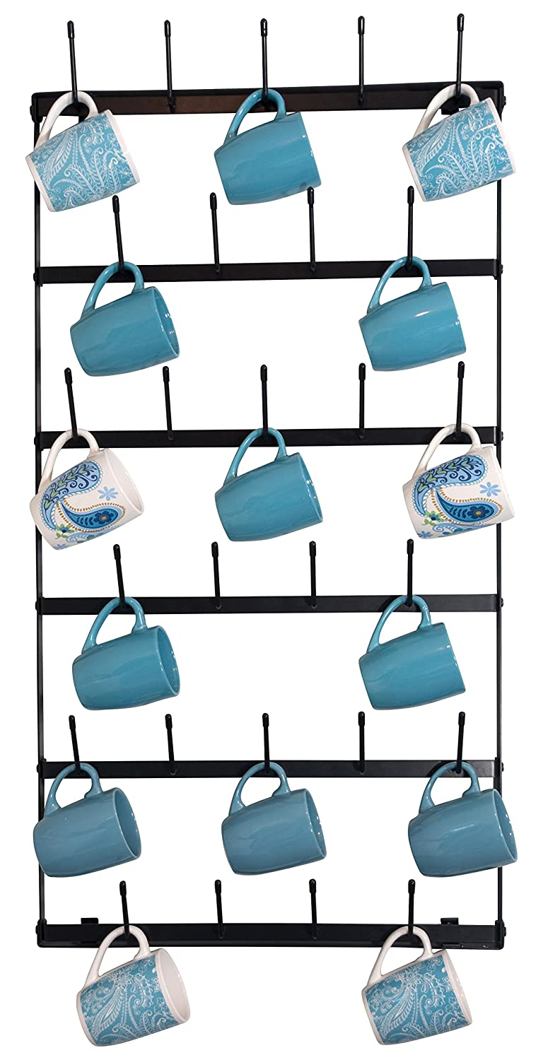 Metal Coffee Mug Rack - Large 6 Row Wall Mounted Storage Display Organizer Rack for Coffee Mugs, Tea Cups, Mason Jars, and More. (38 x 20.5 x 3) Claimed Corner mm-001