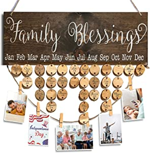 Wooden Family Blessings Calendar Plaque for Family and Friends Birthday Reminder Calendar Home Decor Wall Hanging Sign Board with Tags Picture Hanging Clips and Twine Presents for Friends Grandparents