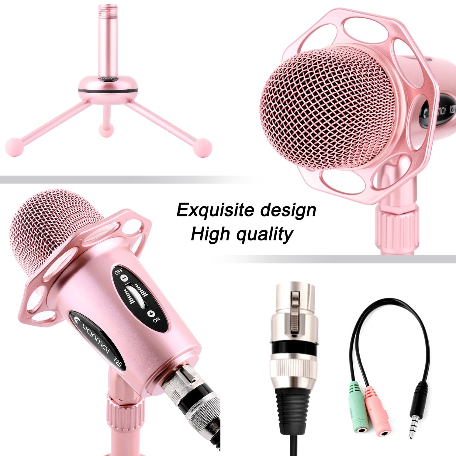 Professional Condenser Microphone, Venoro Plug & Play Home Studio Condenser Microphone with Tripod for PC, Computer, Phone for Studio Recording, Skype, Games, Podcast, Broadcasting (Rose Gold) ... by Venoro (Image #5)