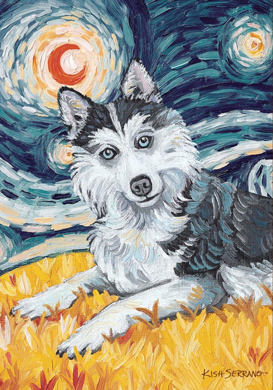 Toland Home Garden Van Growl Siberian Husky 28 x 40 Inch Decorative Puppy Dog Portrait Starry Night House Flag