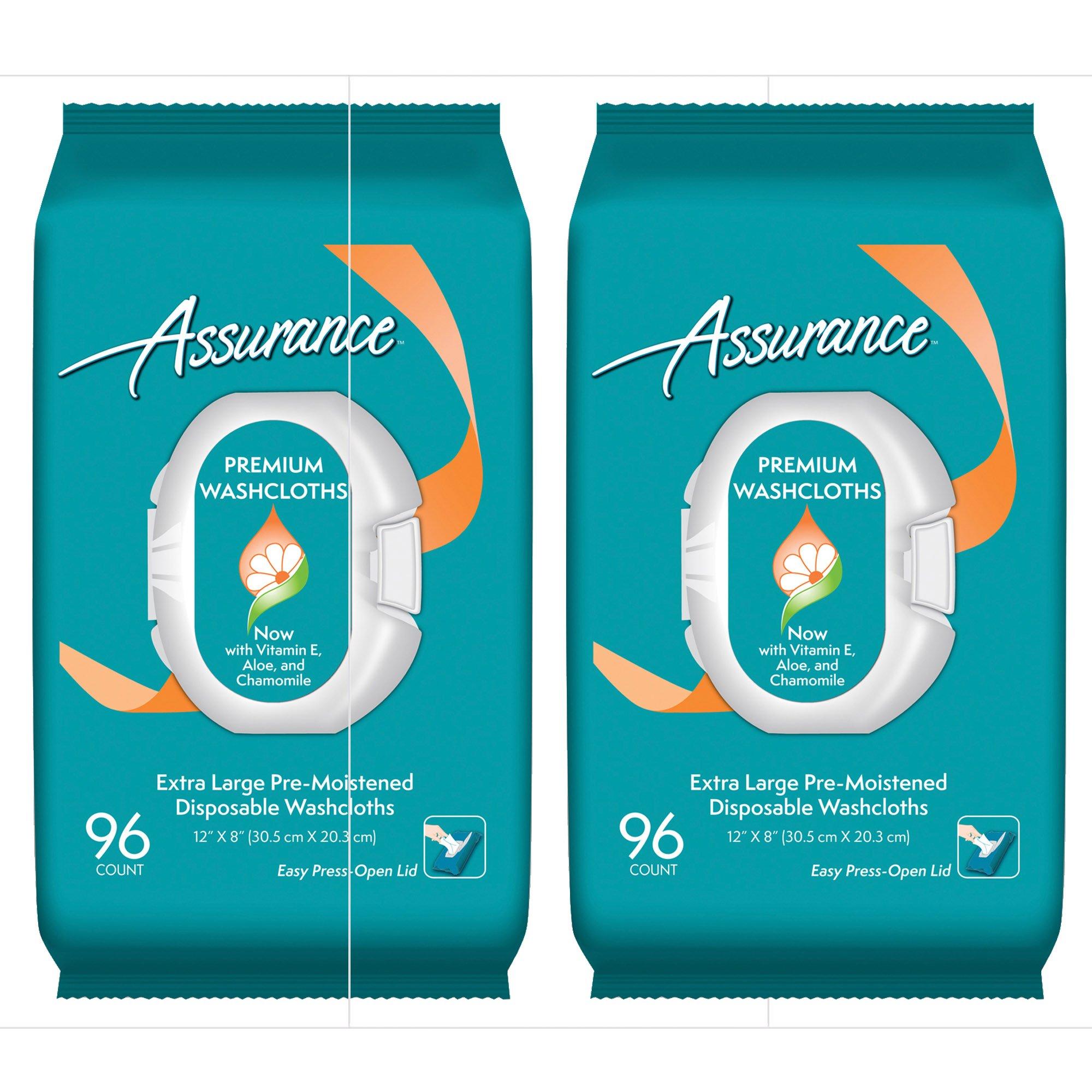 Assurance Premium Pre-moistened Disposable Washcloths, 96ct, 2-Pack