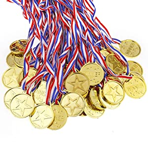Caydo 100 Pieces Kids Children's Gold Plastic Winner Award Medals