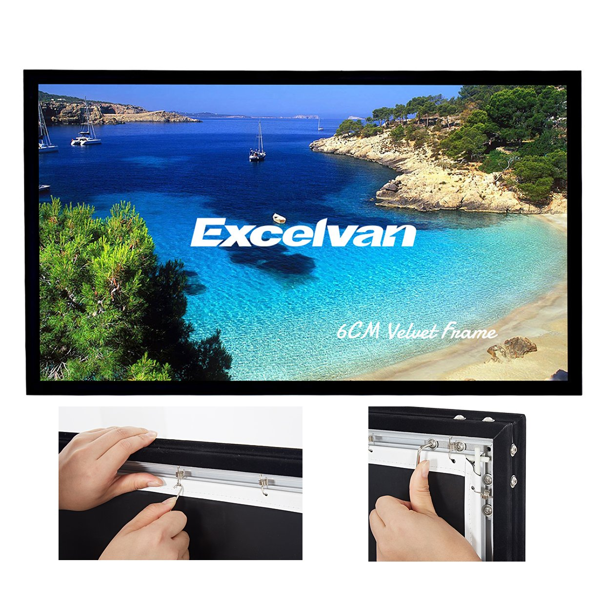 Excelvan 4K Ultra Ready Projector Screen, 120 Inch Diagonal 16:9 1.2 Gain HD 3D Movie Screen for Home Cinema Wrinkle-Free Projection with 7 Pieces Velvet Fixed Frame Active Shutter
