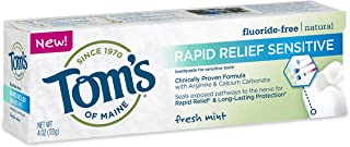 product image for Tom's of Maine, Natural Rapid Relief Sensitive Fluoride-Free Toothpaste, Natural Toothpaste, Sensitive Toothpaste, Fresh Mint, 4 Ounce, 1-Pack