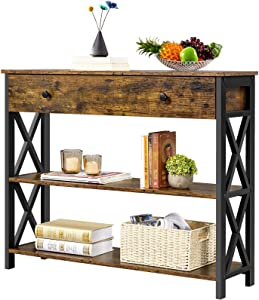 YAHEETECH Industrial Console Table with Drawer, Sofa Table Narrow Console Table for Entryway/Living Room, Entry Table with 2 Tier Open Shelves, Rustic Brown