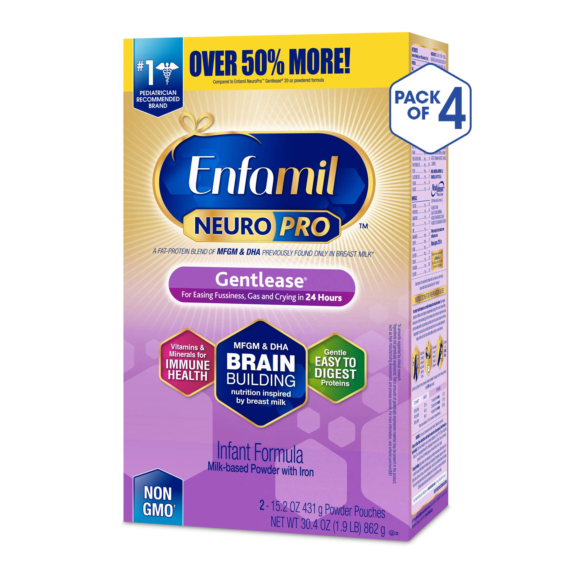 Enfamil NeuroPro Gentlease Infant Formula - Clinically Proven to reduce fussiness, gas, crying in 24 hours - Brain Building Nutrition Inspired by breast milk - Powder Refill Box, 30.4 oz (Pack of 4) by Enfamil (Image #1)