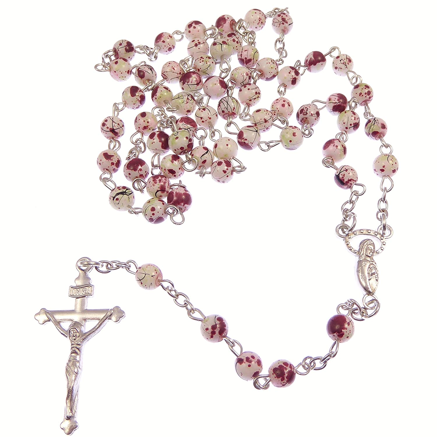 White & red marble round glass rosary beads on silver chain 51cm length necklace R. Heaven