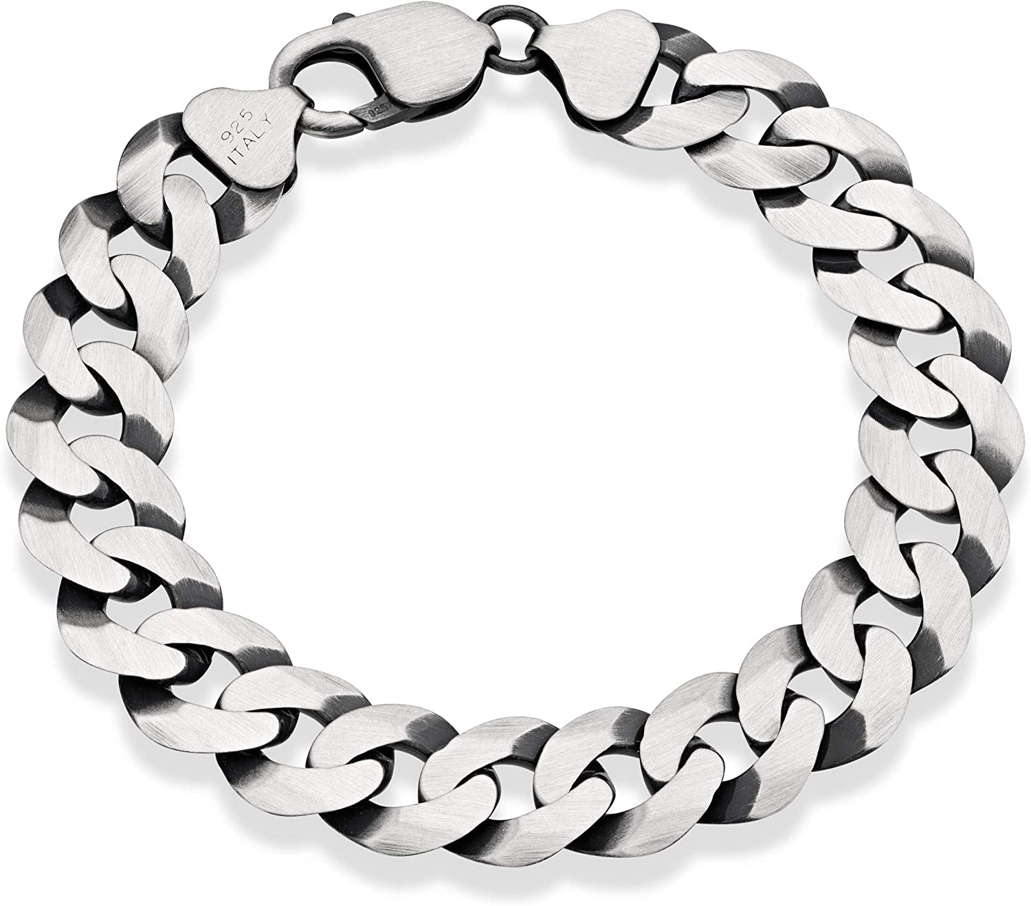 Miabella 925 Sterling Silver Italian 12mm Solid Diamond-Cut Cuban Link Curb Chain Bracelet 8.5 7.5 8 9 Inch Jewelry for Men Made in Italy
