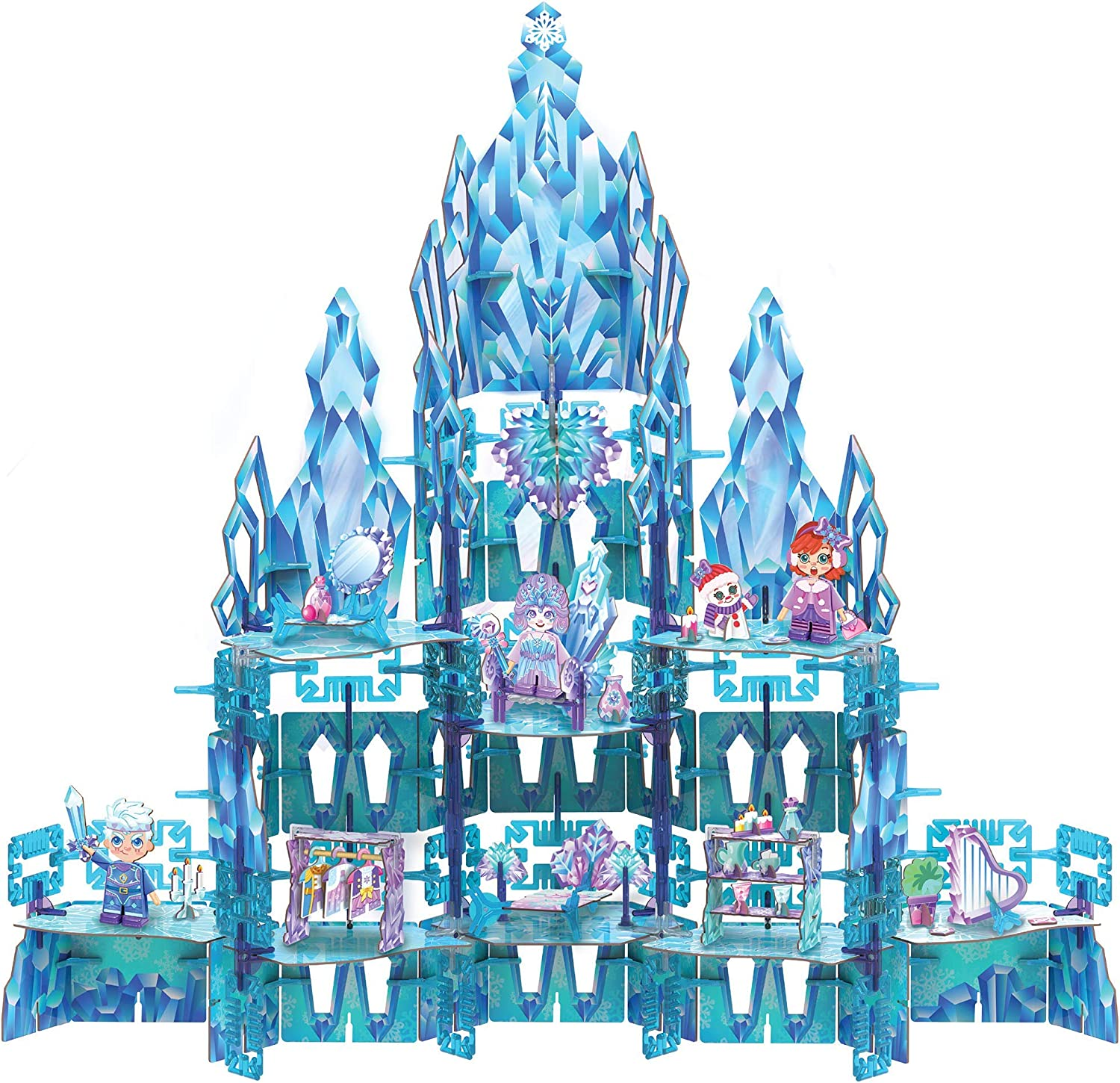 PINXIES Enchanted Ice Castle Kids Play Set, Build-Your-Own Magical Toy - STEM Toy for Girls Ages 6-10