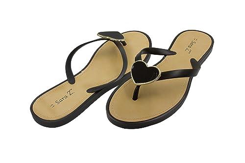 c212b70d87a0 Sara Z Ladies PCU Flip Flop with Enamel Heart Ornament 11 Black