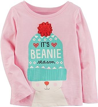 a23b0ffdcf9 Amazon.com  Carter s Girls Long Sleeve Beanie Season Tee  Clothing