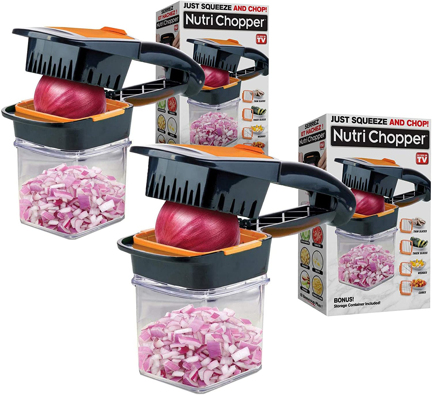Nutrichopper with Fresh-keeping container - Chops, Slices, Cubes, Wedges – Multi-purpose Food Chopper with Stainless Steel Blades As Seen On TV