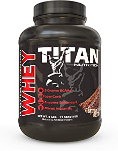 Titan WHEY Premium Whey Protein Powder for Improved Muscle Recovery with 23 Grams of Clean Whey Protein  BCAA and Digestive Enzymes  (5lb, Devils Food Cake)