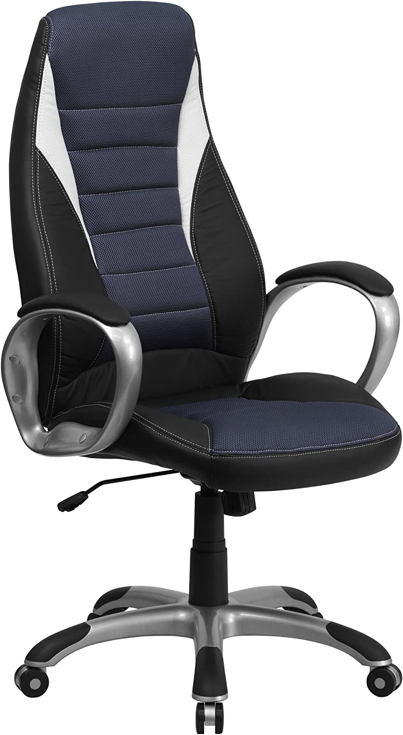 Flash Furniture High Back Black Vinyl Executive Swivel Office Chair with Blue Mesh Inserts and Arms
